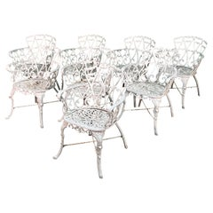 Cast Metal Garden Patio Chairs in the Manner of Frances Elkins, Set of 8
