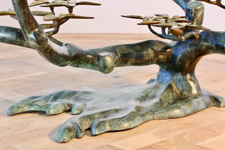 Cast Patinated Brass and Glass 'Bonsai' Tree Form Coffee Table c.1980s Belgium For Sale 7