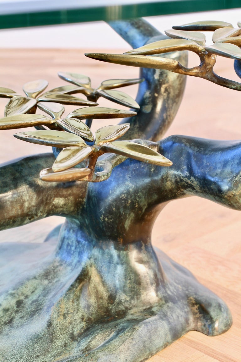 Cast Patinated Brass and Glass 'Bonsai' Tree Form Coffee Table c.1980s Belgium For Sale 10