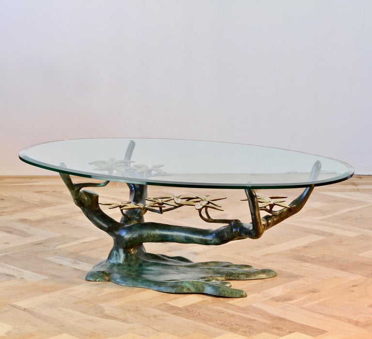 Belgian Cast Patinated Brass and Glass 'Bonsai' Tree Form Coffee Table c.1980s Belgium For Sale