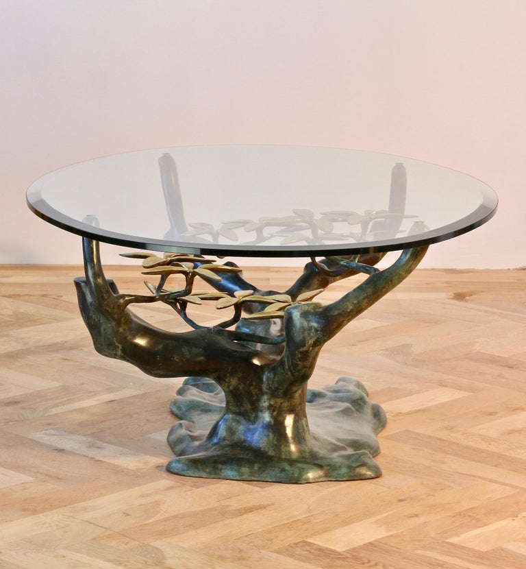 20th Century Cast Patinated Brass and Glass 'Bonsai' Tree Form Coffee Table c.1980s Belgium For Sale