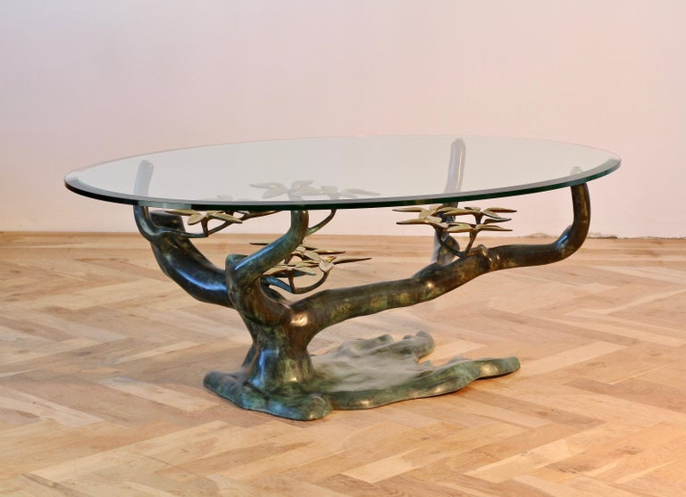 Cast Patinated Brass and Glass 'Bonsai' Tree Form Coffee Table c.1980s Belgium For Sale 1