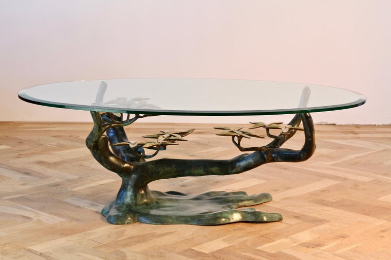 Cast Patinated Brass and Glass 'Bonsai' Tree Form Coffee Table c.1980s Belgium For Sale 2