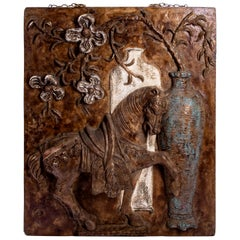 Cast Plaster and Fiberglass Tang Horse and Floral Wall Sculpture