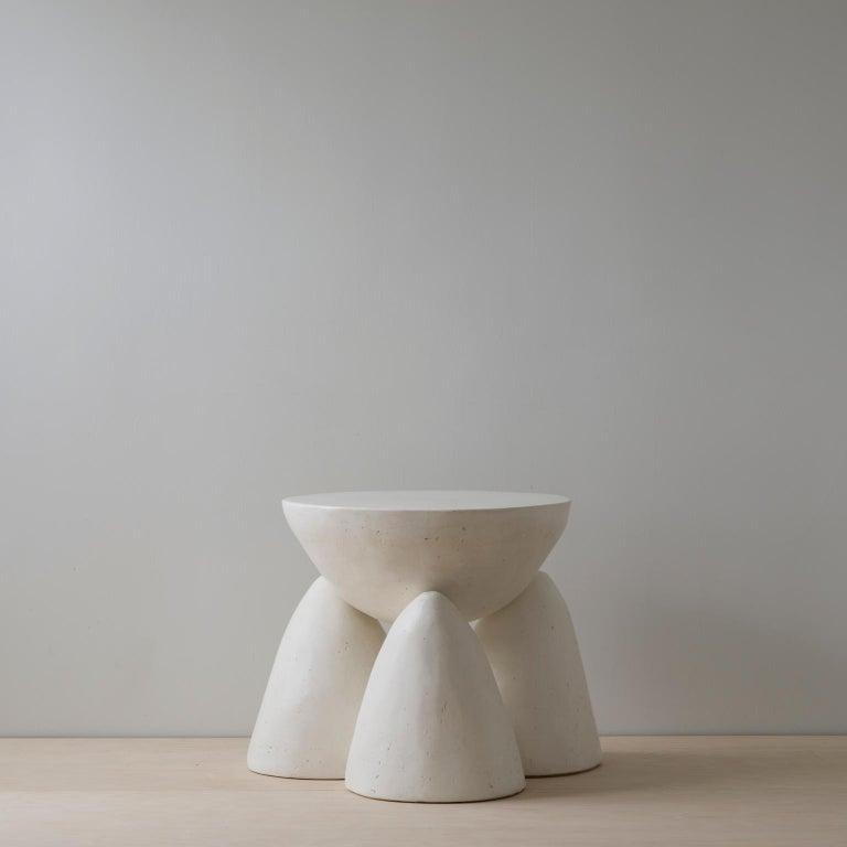 Hand-Carved Cast Plaster Minimalist Twyla-03 Side Table For Sale