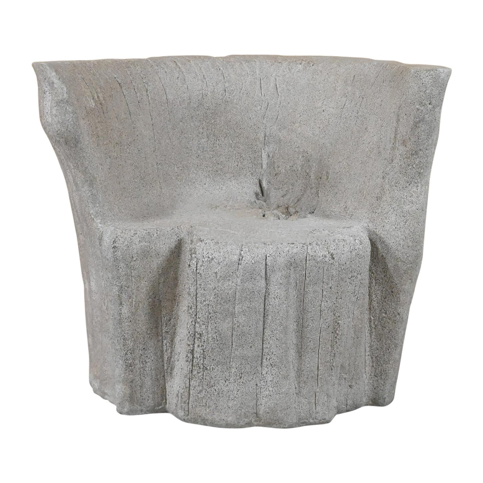 Cast Resin 'Acacia' Chair, Aged Concrete Finish by Zachary A. Design