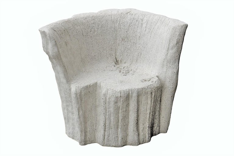 Fiberglass Cast Resin 'Acacia' Chair, Natural Concrete Finish by Zachary A. Design For Sale