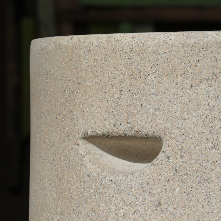 Minimalist Cast Resin 'Aileen' Side Table, Aged Stone Finish by Zachary A. Design For Sale