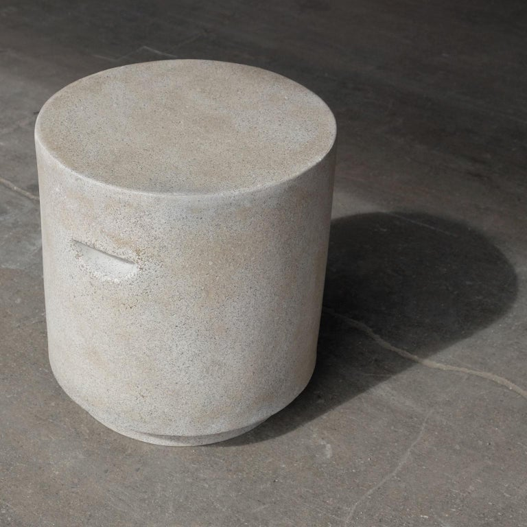 American Cast Resin 'Aileen' Side Table, Aged Stone Finish by Zachary A. Design For Sale