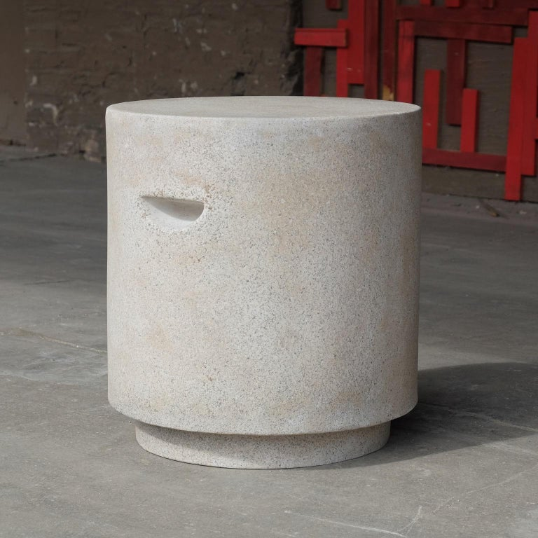 Cast Resin 'Aileen' Side Table, Aged Stone Finish by Zachary A. Design In New Condition For Sale In Chicago, IL