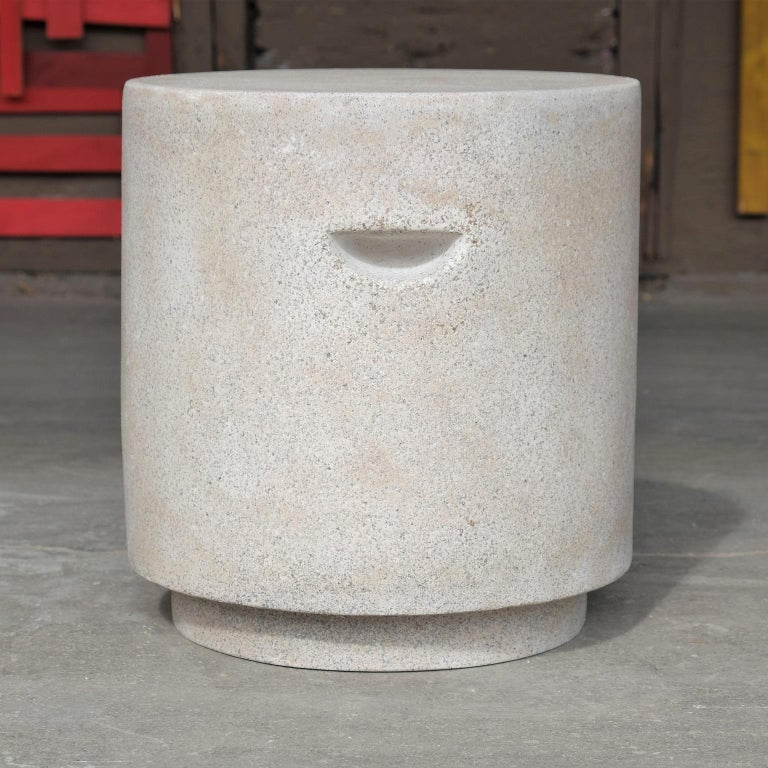 Contemporary Cast Resin 'Aileen' Side Table, Aged Stone Finish by Zachary A. Design For Sale