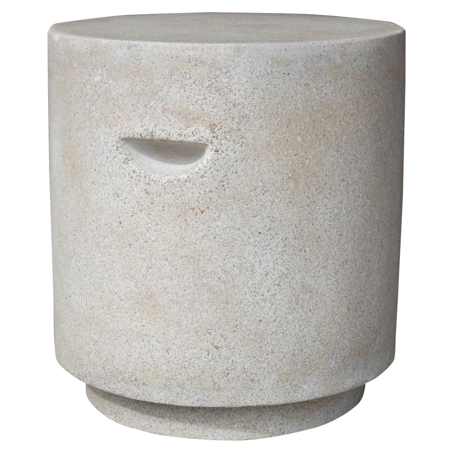 Cast Resin 'Aileen' Side Table, Aged Stone Finish by Zachary A. Design
