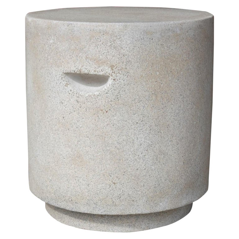 Cast Resin 'Aileen' Side Table, Aged Stone Finish by Zachary A. Design For Sale
