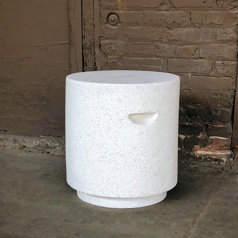 Minimalist Cast Resin 'Aileen' Side Table, Natural Stone Finish by Zachary A. Design For Sale