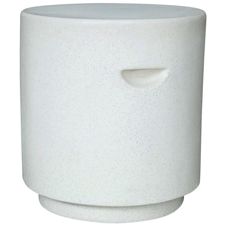 Cast Resin 'Aileen' Side Table, White Stone Finish by Zachary A. Design