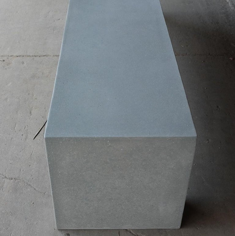 Minimalist Cast Resin 'Aspen' Bench, Gray Stone Finish by Zachary A. Design For Sale