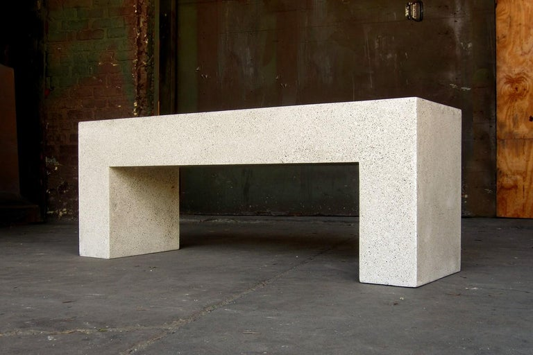 Contemporary Cast Resin 'Aspen' Bench, Natural Stone finish by Zachary A. Design For Sale