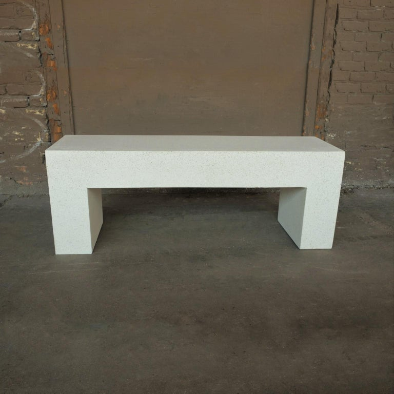 Minimalist Cast Resin 'Aspen' Bench, White Stone Finish by Zachary A. Design For Sale