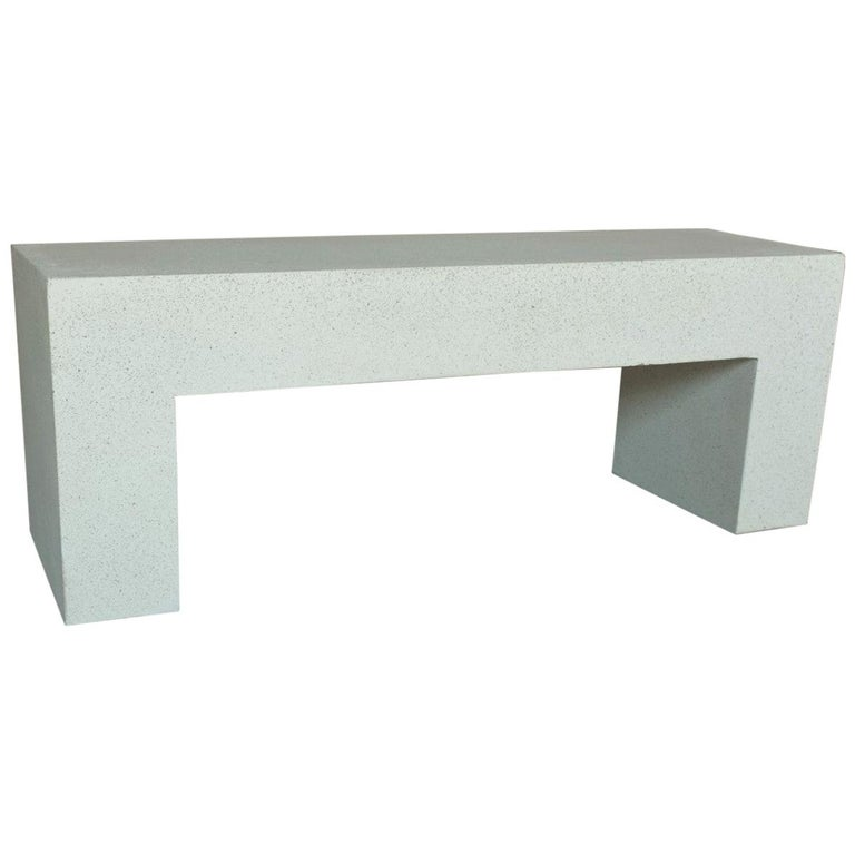 Cast Resin 'Aspen' Bench, White Stone Finish by Zachary A. Design For Sale