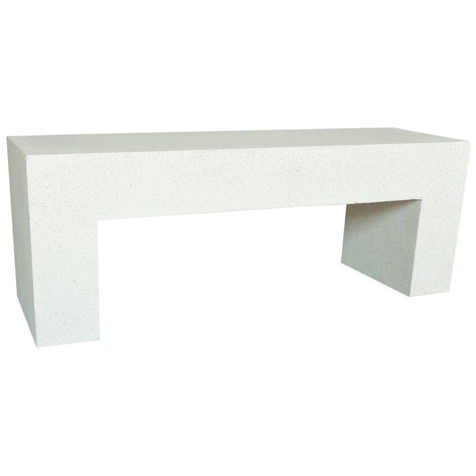 Cast Resin 'Aspen' Bench, White Stone Finish by Zachary A. Design
