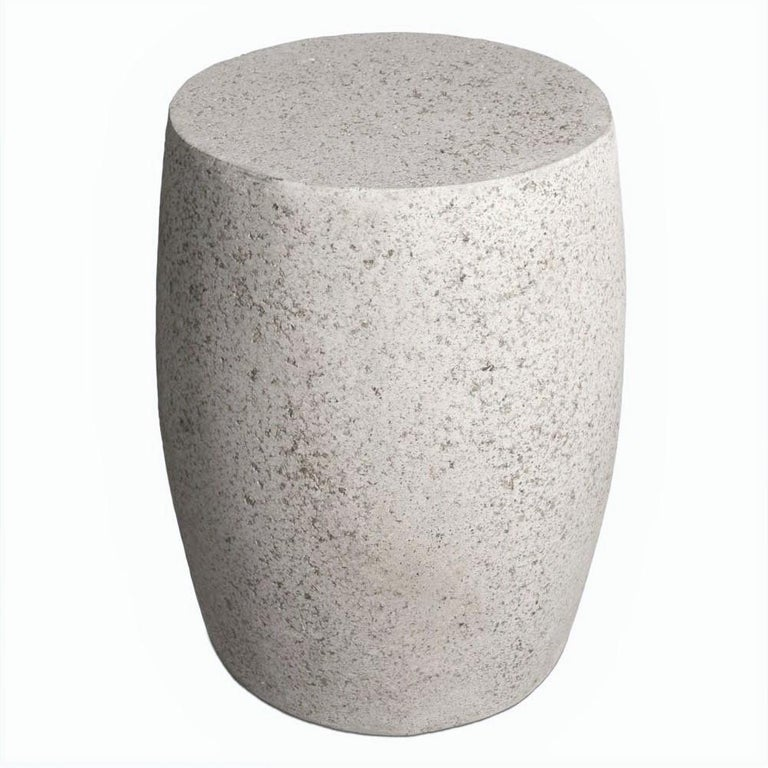 Minimalist Cast Resin 'Barrel' Side Table, Natural Stone Finish by Zachary A. Design For Sale