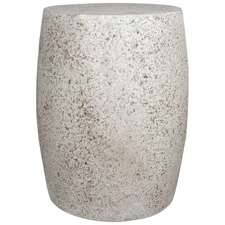 Cast Resin 'Barrel' Side Table, Natural Stone Finish by Zachary A. Design For Sale