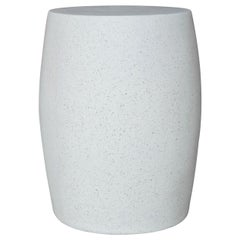 Cast Resin 'Barrel' Side Table, White Stone Finish by Zachary A. Design