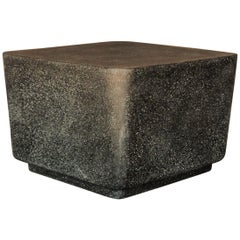Cast Resin 'Block' Side Table, Coal Stone Finish by Zachary A. Design