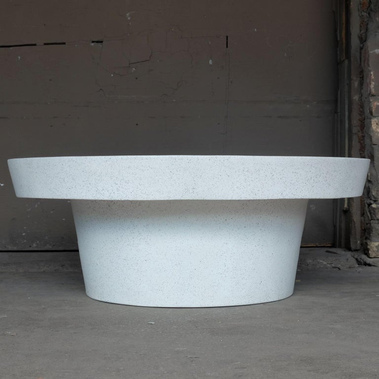 American Cast Resin 'Cashi' Cocktail Table, White Stone Finish by Zachary A. Design For Sale