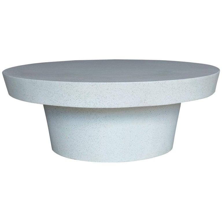 Cast Resin 'Cashi' Cocktail Table, White Stone Finish by Zachary A. Design For Sale