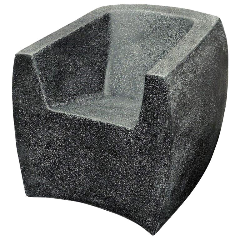Cast Resin Curved 'Van Dyke' Club Chair, Coal Stone Finish by Zachary A. Design