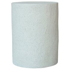 Cast Resin 'Dock' Stool and Side Table, White Stone Finish by Zachary A. Design