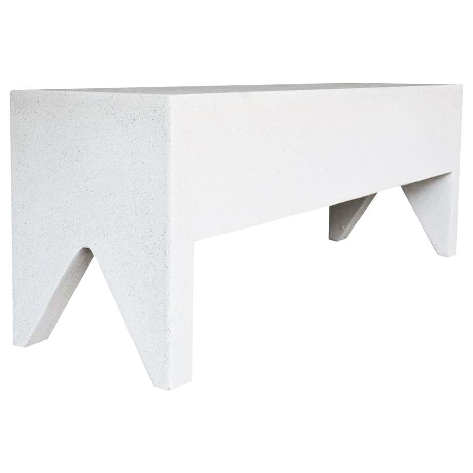 Cast Resin 'Farm' Bench, White Stone Finish by Zachary A. Design
