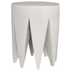 Cast Resin 'King Me' Side Table, White Stone Finish by Zachary A. Design