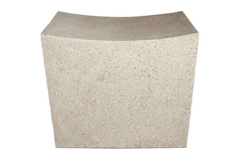 American  Cast Resin 'Mason Cut' Stool, Natural Stone Finish by Zachary A. Design For Sale
