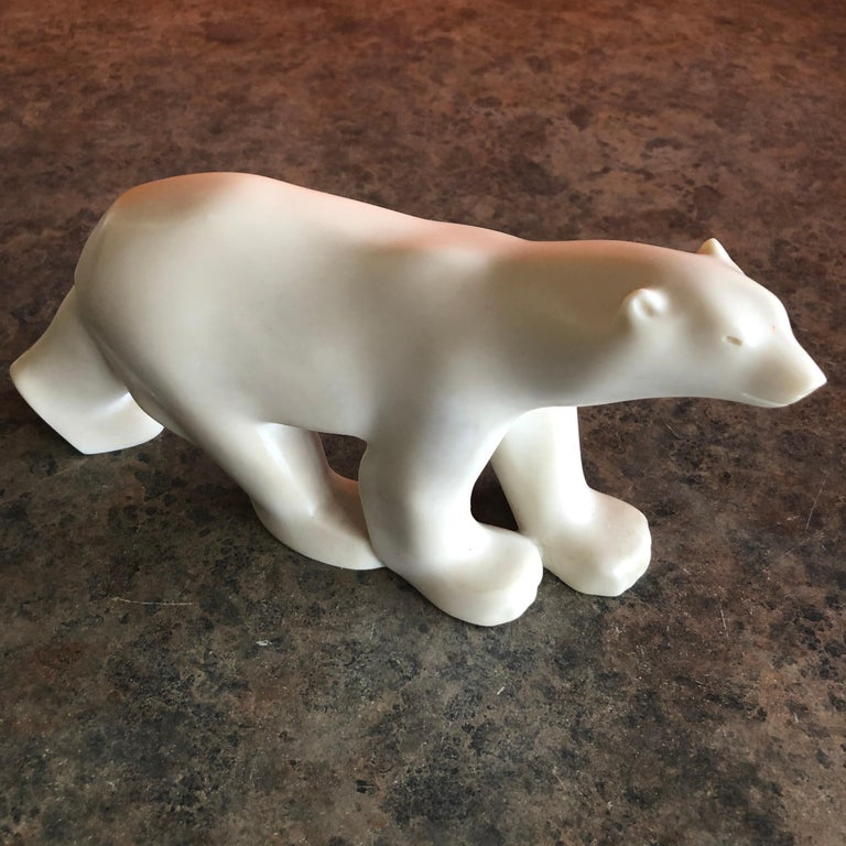 Cast Resin Polar Bear Sculpture by Francois Pompon for the MOMA Collection In Good Condition In San Diego, CA