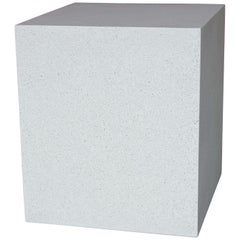 Cast Resin 'Square' Side Table, White Stone Finish by Zachary A. Design