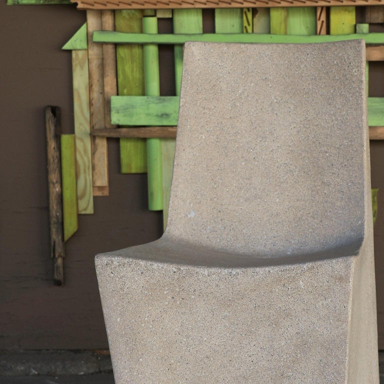 Minimalist Cast Resin 'Stone' Dining Chair, Aged Stone Finish by Zachary A. Design For Sale