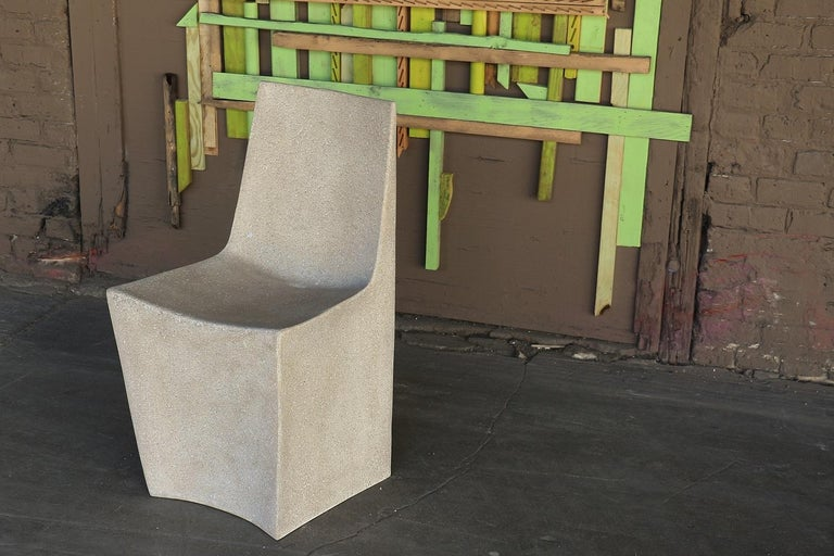 Fiberglass Cast Resin 'Stone' Dining Chair, Aged Stone Finish by Zachary A. Design For Sale