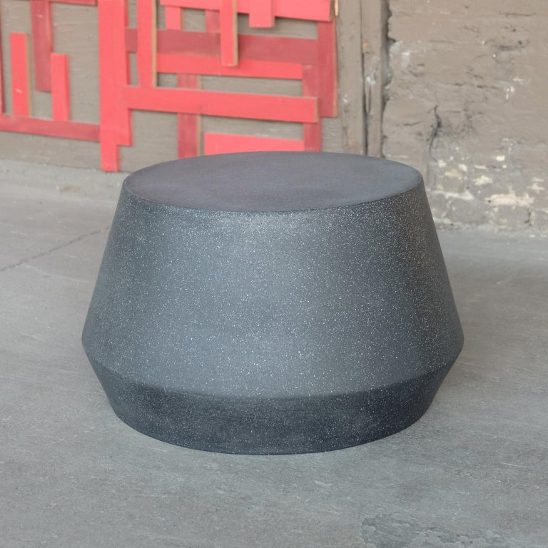 Cast Resin 'Tom' Cocktail Table, Coal Stone Finish by Zachary A. Design In New Condition For Sale In Chicago, IL