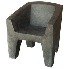 Cast Resin 'Van Eyke' Club Chair, Coal Stone Finish by Zachary A. Design