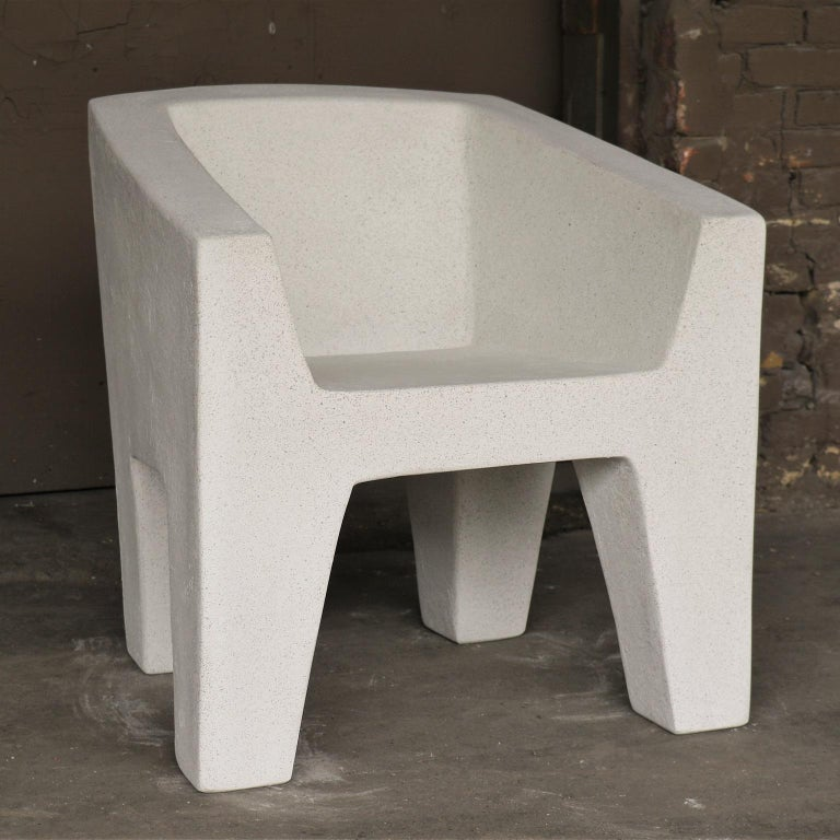 The Van Eyke chair is an original piece of the Zachary A. line. Pictured in our White Stone finish, the texture and modern look of concrete make it appropriate for a wide variety of styles and spaces.  The Van Dyke chair (ZBT101) is 27