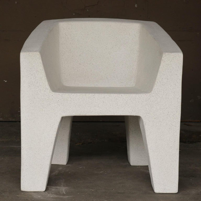 Minimalist Cast Resin 'Van Eyke' Club Chair, White Stone Finish by Zachary A. Design For Sale