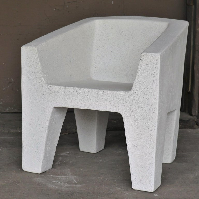 American Cast Resin 'Van Eyke' Club Chair, White Stone Finish by Zachary A. Design For Sale