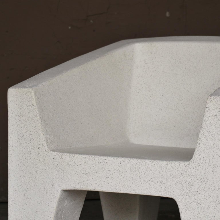 Cast Resin 'Van Eyke' Club Chair, White Stone Finish by Zachary A. Design In New Condition For Sale In Chicago, IL