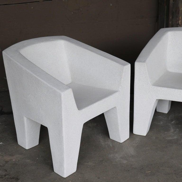 Fiberglass Cast Resin 'Van Eyke' Club Chair, White Stone Finish by Zachary A. Design For Sale