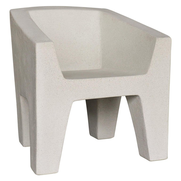 Cast Resin 'Van Eyke' Club Chair, White Stone Finish by Zachary A. Design For Sale