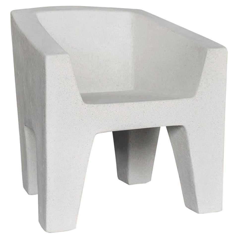 Cast Resin 'Van Eyke' Club Chair, White Stone Finish by Zachary A. Design