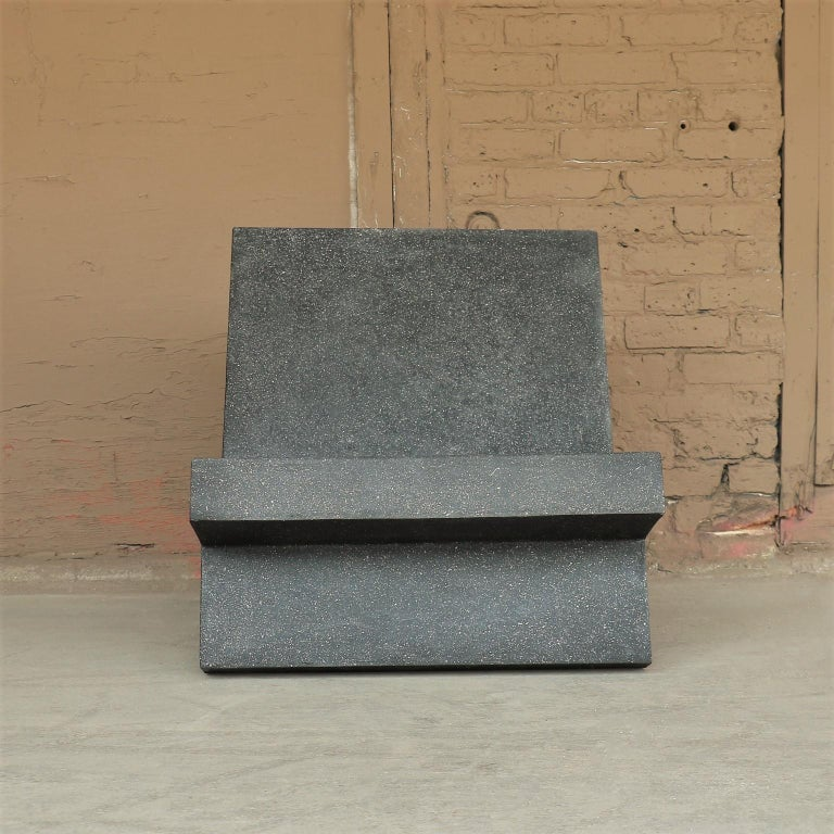 Minimalist Cast Resin 'Wavebreaker' Lounge Chair, Coal Stone Finish by Zachary A. Design For Sale