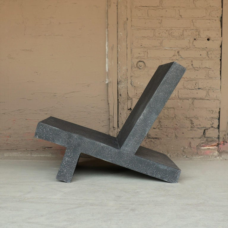 American Cast Resin 'Wavebreaker' Lounge Chair, Coal Stone Finish by Zachary A. Design For Sale